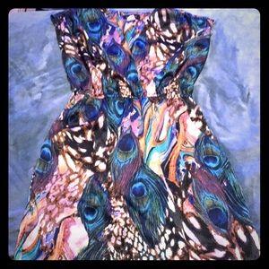 Teeze Me Peacock Feather Print Dress